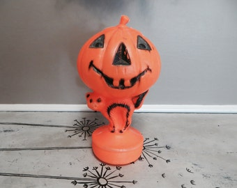 Vintage Plastic Light Up Pumpkin Halloween Jack o Lantern with Black Cat Blow Mold 1950s Halloween Decor Vintage Halloween Fall Decor