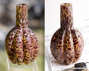 Unique Hand Blown Glass Vase - Brown with Ruby Dots - Ribbed Body with Tall Neck