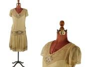 Vintage 1920's Sheer Chiffon Beaded + Sequin Embellished Drop Waist Flapper Jazz Age Wedding Dress
