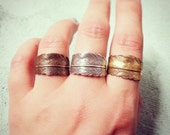 Feather Wrap Around Ring - in Antiqued Silver, Bright Brass, or Antiqued Bronze
