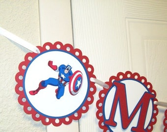 Captain America Name Banner/ Birthday Banner/ Boy Party/ Decorating