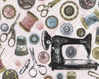 Timeless Treasures Tres Jolie Collection--Pink Sewing Machines #C2814-PNK(1-Yard Cut)