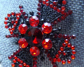 Red Rhinestone Brooch