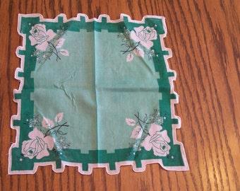 Vintage Green ROSE Handkerchief Hankie Pretty Shape