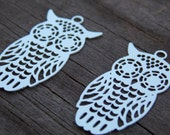 6 Stainless Steel Owl Charms 28mm by 15mm 28 Gauge