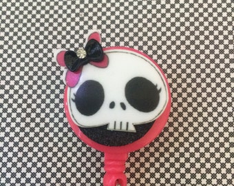 Retractable ID Badge Reel Skull
