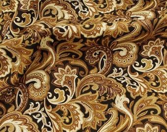 C2028D - 1 meter  Cotton Fabric - Pteris flower - golden (145cm width)