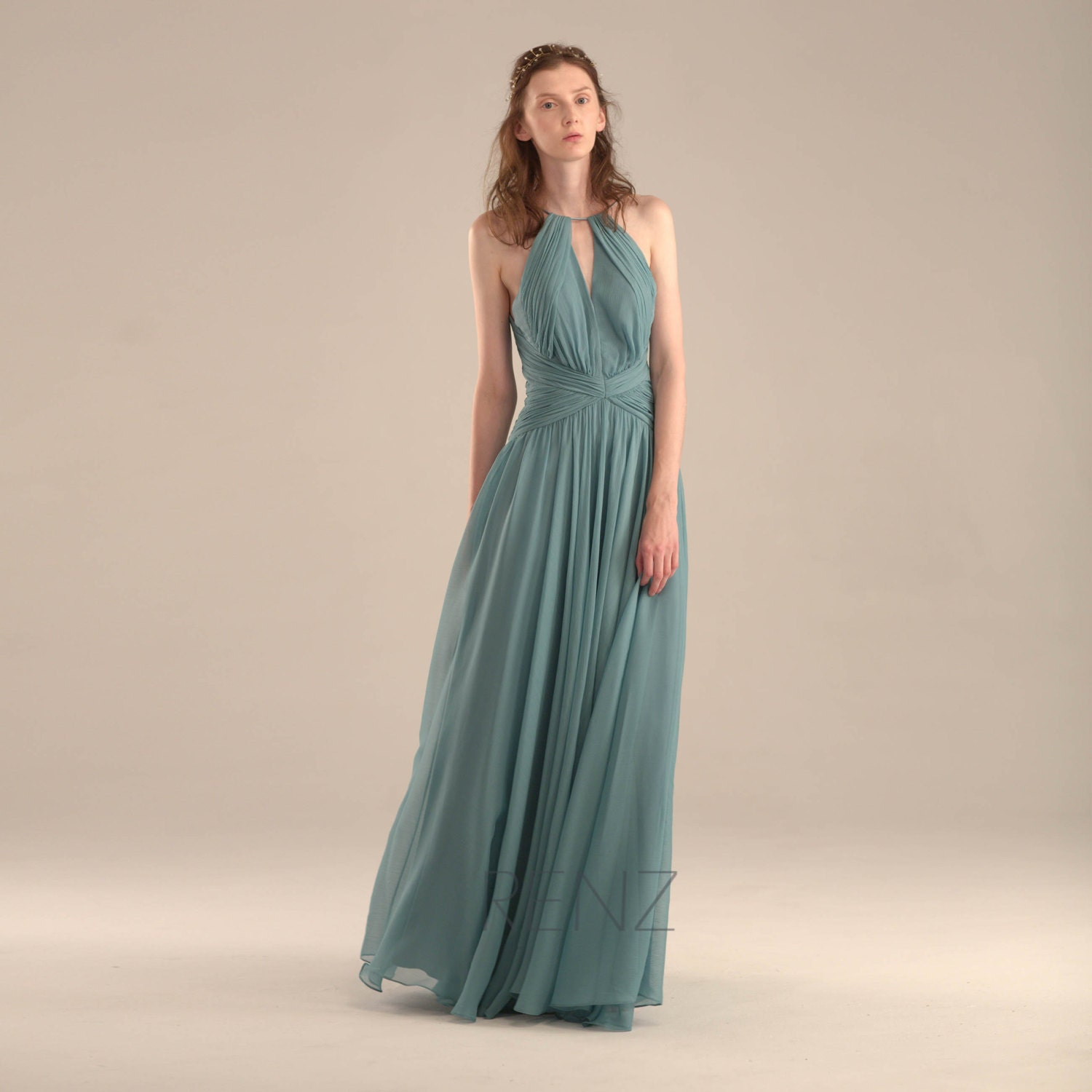 2016 Teal Halter Bridesmaid dress Turquoise Wedding by