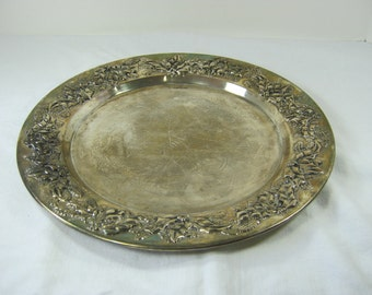Vintage HOLiDAY SiLVERPLATE TRAY Christmas CAKE STAND Tarnish PATiNA
