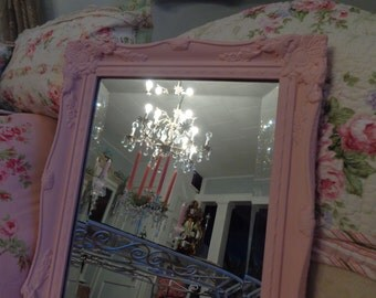 Pretty in Pink shabby chic, Paris chic ornate baby girl, baroque framed mirror