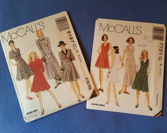 Uncut McCall's Sewing Pattern - 6187 or 7721 - Misses'/Misses' Petite Dress or Jumper - size 8 10 12 (size B)