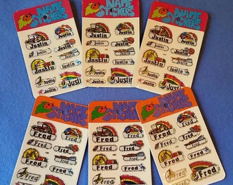 Vintage 1980s Prismatic Name Stickers, three packs, Fred or Justin