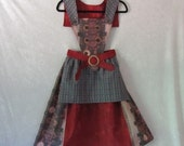 On Sale - Steampunk Victorian Renaissance Apron Dress With Detach. Bib/Collar: All Cotton, Teen's Size 12, Ready To Ship Now