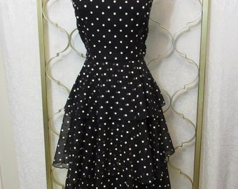 Vintage 1970s Ruffle Tiered Layered Pin-Up Disco Dress Black & White Dot Twirl Small