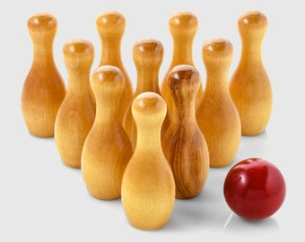 Varnished Wooden Bowling Game for Kids-Classic kids toy-Kids Birthday Toy-Christmas gift for kids