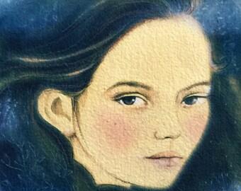 Mystical girl art original mix media