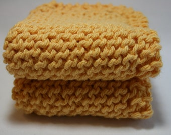 Handknit Cotton Dish Cloths - Wash Cloths - Set of Two Gold Yellow