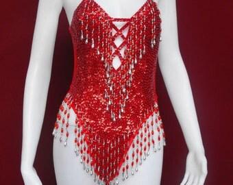 Party Latin Dance Costume Drag Showgirl Leotard XS-XL