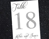 Glitter Wedding Table Numbers - Silver Wedding Table Numbers - Elegant Wedding Table Numbers - Reception Tables