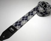 Handmade double padded blue and gray argyle guitar strap - Blue and Gray Argyle