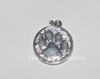 Set of 3  Sterling Plated Paw Print Pendants