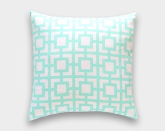70% OFF Mint Green Throw Pillow Cover. 20X20 Inches Key Hole Geometric Cushion Covers.