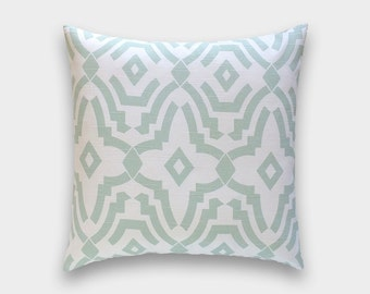 50% OFF CLEARANCE Artichoke Green Chevelle Decorative Pillow Cover. 16X16 Inches. Light Green Geometric Lattice. Cushion Cover.