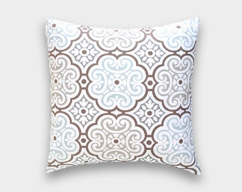 CLEARANCE 50% OFF Snowy Blue Medallion Throw Pillow Cover. Light Blue Decorative Cushion Cover. Floral Suzani