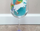 Rainbow Unicorn hand painted wine glass
