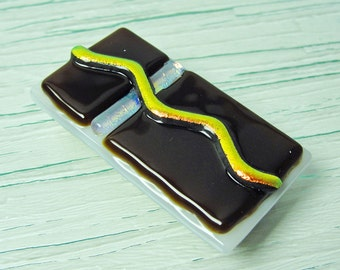 Money Clip Dichroic Fused Glass Money Clip Mens Accessories Brown White Copper Glass Art Gifts for Men Groomsmen Gifts Under 30 Dollars