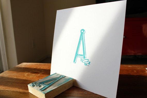 Simple Linoleum Print Poster - Letter A
