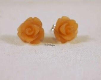 Frosted Resin Rose Earrings, Light Brown Rose Pierced Earrings. Girls Stud Earrings, Gift For a Girl or Teen  CKDesigns.us