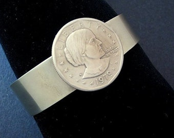 Feminist Silver Cuff Bracelet Susan B Anthony Coin