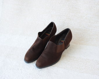 Vintage Aerosoles Brown Suede Leather Ankle Boot Pumps with Pointy Toe, Womens 5 1/2 / ITEM029