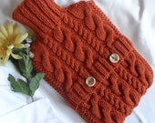 Hand Knitted Copper Cabled Hot Water Bottle Cover