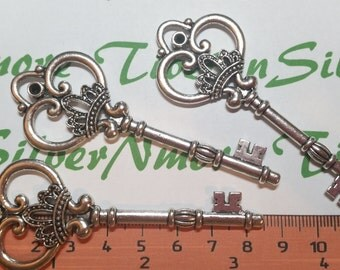 3 pcs per pack 84x30mm Large Solid Skeleton Key Antique Silver Lead free Pewter.