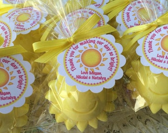 10 SUN SOAPS {Favors} - Sunshine party, Summer Birthday, Party Favors, baby Shower, Pink Lemonade, Little Sunshine, Soap Favors, Flower