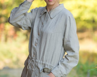 Pure Linen Oversize Jacket For Women Drawstringed At Waist