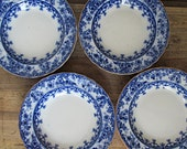Flow Blue Warwick Soup Bowls Gold Rim Antique Vintage China Dish Dishes Blue and White Dishware Set of 4