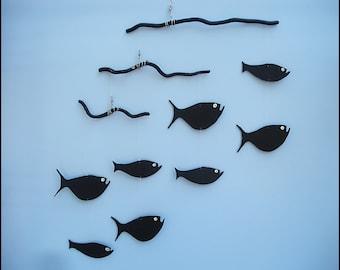 Fish Mobile,F64,Wood Fish,Baby Mobile,Mobile,Man Cave Gift,Fish,Ocean Art,Fish Art,Nautical,Kinetic,Fisherman Gift,Nursery,Black Fish