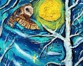 Winter owl poster, trees, stars, sky,owl painting, owl poster, owl photography, owl tree, owl tattoo, owl decor, owl gift, blue, barn
