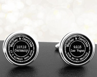 Cufflinks Your Story Personalized Handmade Cuff Links for Grooms Fiance Wedding Men