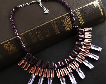A Layer Colorful Bead Rhinestone Chocker Nacklace