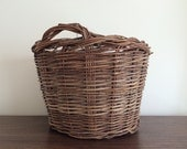 Vintage Woven Coil Natural Fiber Woven Basket with handles