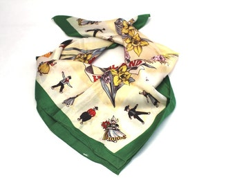 Dutch Vintage Scarf, 26 x 26 inches. Floral Design. Colours in Green, Yellow and Red. Excellent Condition