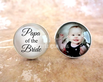Custom Photo Papa of the Bride Cuff Links - Personazlied Photo Cufflinks - Wedding Papa Picture Cuff Links - Stainless or Sterling
