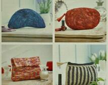 Bag Knitting Pattern K4338 4 Styles of Clutch Bags or Makeup Bags Crochet Pattern in Raffia King Cole
