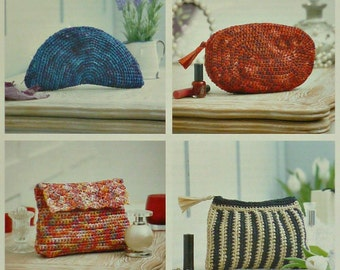 Bag Knitting Pattern K4338 4 Styles of Clutch Bags or Makeup Bags Crochet Pattern in Raffia King Cole