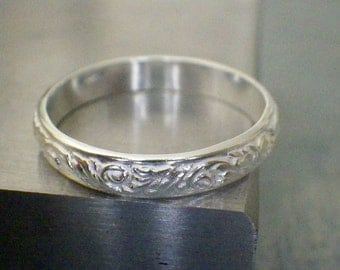 Sterling Silver Floral Band Statement Stacking Ring