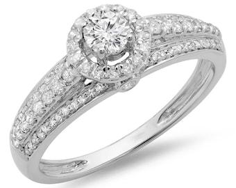 0.75 carat (ctw) 14k  gold round cut diamond ladies bridal halo style engagement ring 3/4 ct